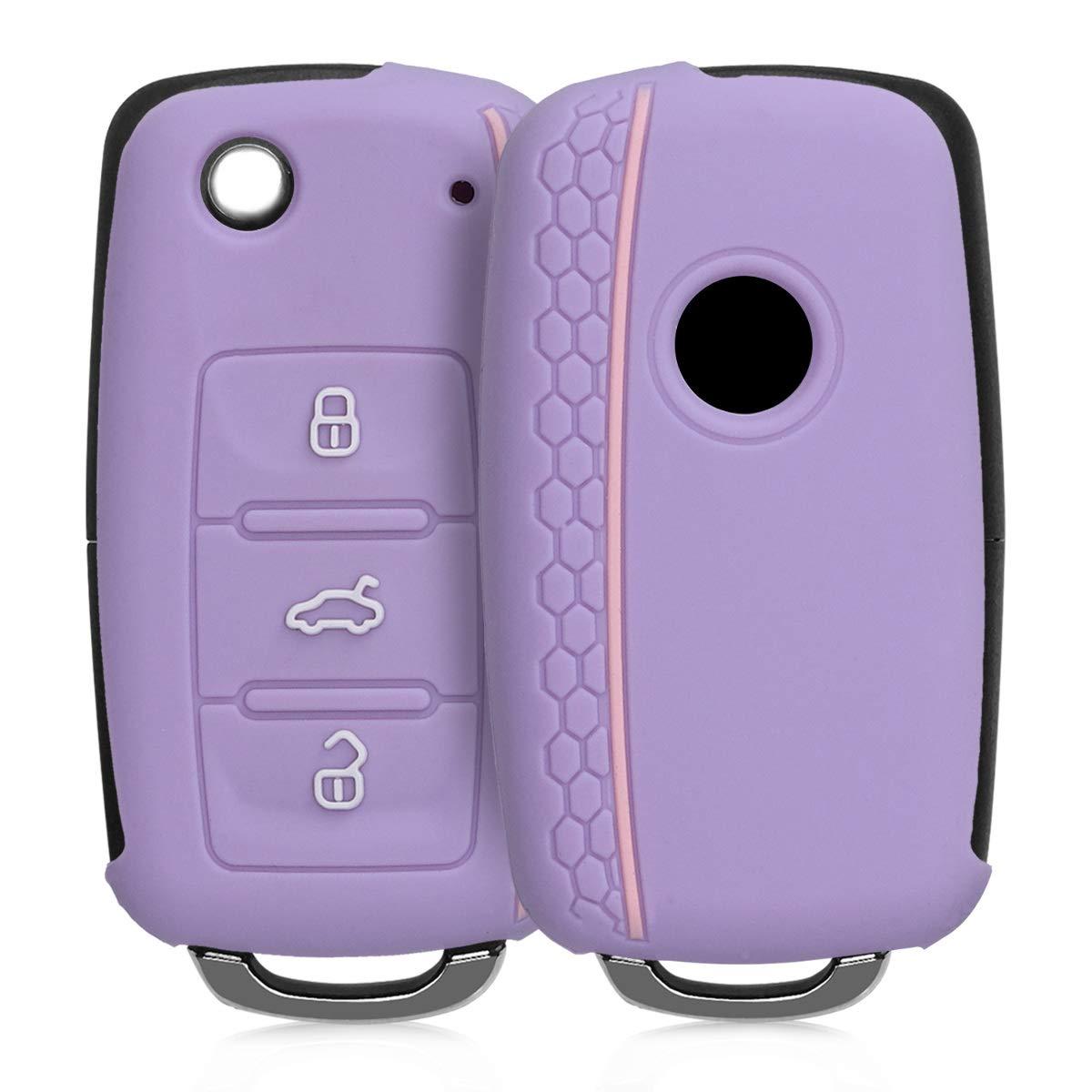 /Étui de Protection Souple Coque pour Clef de Voiture VW Skoda Seat 3-Bouton en Silicone Bleu kwmobile Accessoire cl/é de Voiture pour VW Skoda Seat
