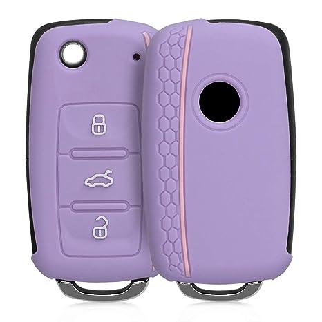kwmobile Funda de Silicona para Llave de 3 Botones para Coche VW Skoda Seat - Carcasa Protectora [Suave] de [Silicona] - Case Mando de Auto [púrpura ...