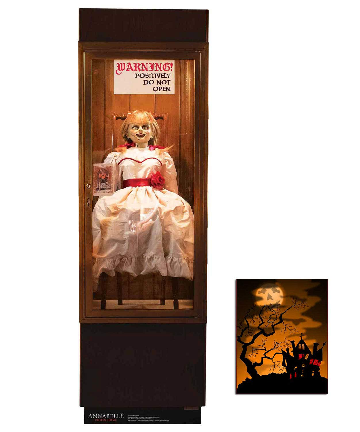 The Conjuring Official Cardboard Cutout//Standup of Annabelle Sat in Glass Case 177cm x 56cm and includes 8x10 photo