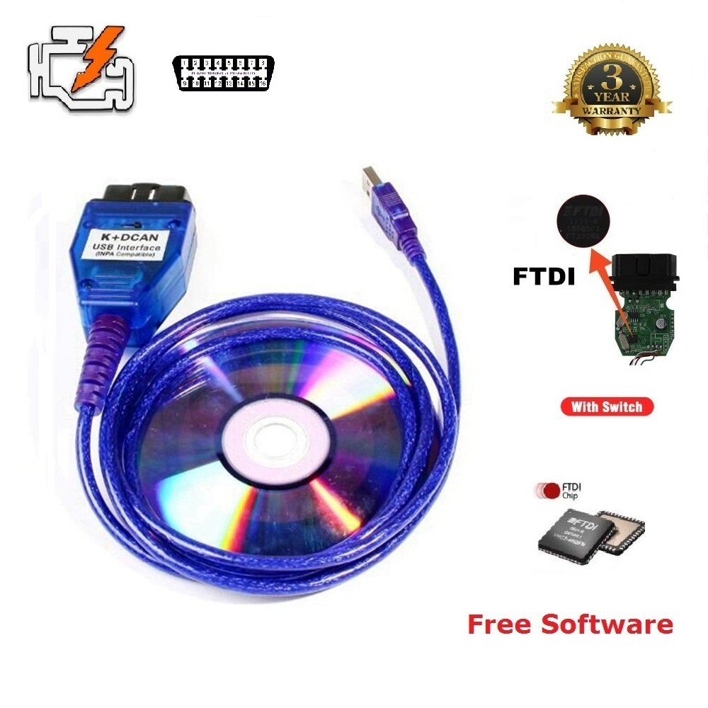 NiceCheck K+DCAN inpa cable USB Interface INPA//Ediabas OBD CAN Diagnostic Cable with Switch for B M W