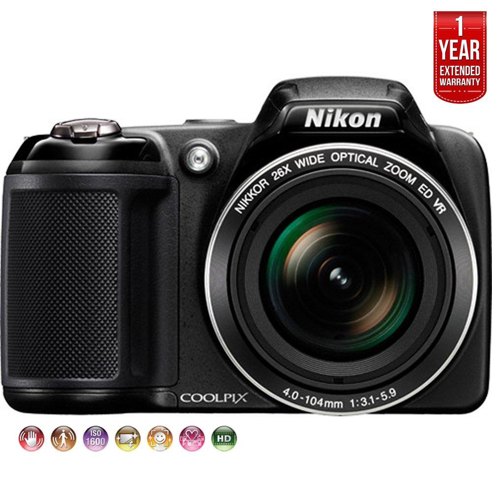 Nikon COOLPIX L330 20MP 720p HD Video Black Digital Camera 26449B (Certified Refurbished) + 1 Year Extended Warranty by Nikon