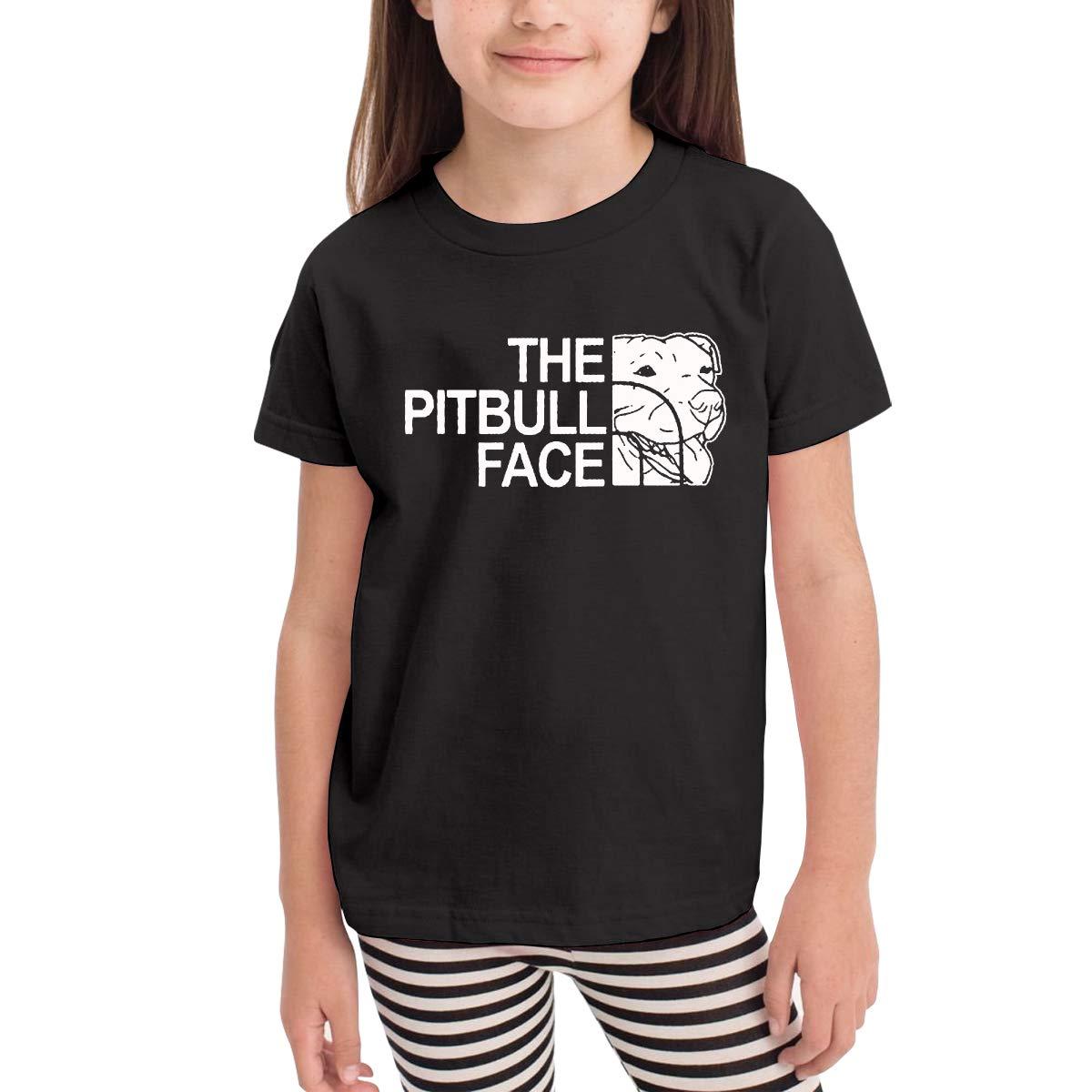 WCHUNMU Funny Pitbull Childrens Cotton Black Short Sleeve Girls T Shirt