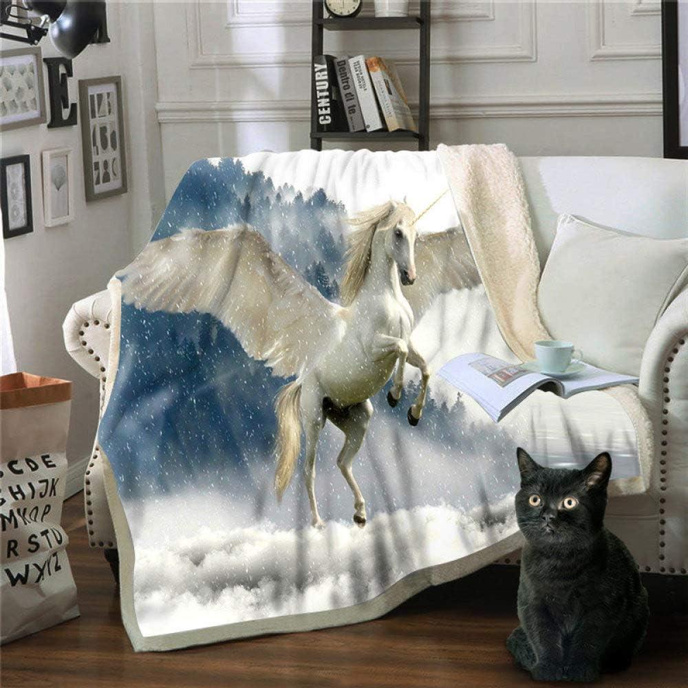 FDCSYP Mantas,Animal Caballo Blanco Unicorn Manta de impresión 3D Chicas Chicos Colcha Cama sofá de Felpa Sherpa Manta Manta Regalos para niños Adultos se desplazan cálida Manta,75×100cm/30×40 Inch