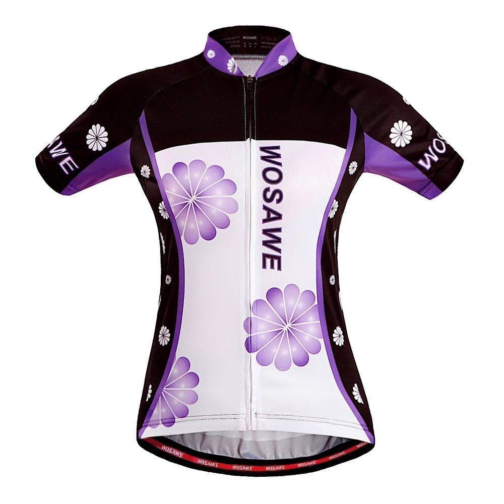 Wosawe - Maglia da ciclismo a maniche corte e pantaloncini imbottiti in gel 4D, abbigliamento sportivo da donna per MTB 2016, donna, Jersey Only, S