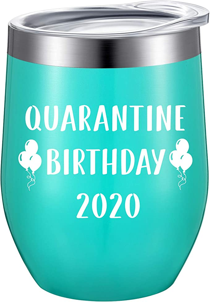 Quarantine Birthday Gifts,2020 Funny Novelty Wine glass Personalized Present for Women Coworkers Men Vacuum Insulated Tumbler 12oz Black Friends