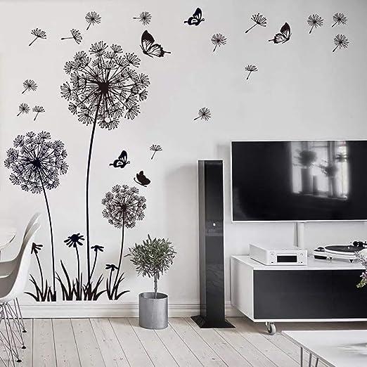 WandSticker4U®- XL Wandtattoo PUSTEBLUMEN Schwarz I Wandbilder: 165X130 cm  I Wandaufkleber Blumen Löwenzahn Schmetterlinge Pflanzen I Deko für ...