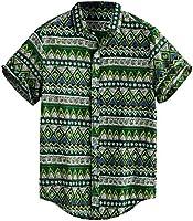 Men's Printed Hawaiian Loose Short Sleeve Casual Button T Shirt Pocket Beach Tee Comfortable Tank Tops
