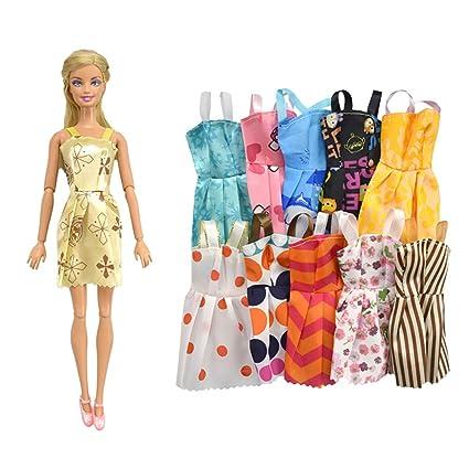 Hilai Zapatos para niños de Juguete Vestidos para la muñeca de Barbie 10pcs Vestido de Partido