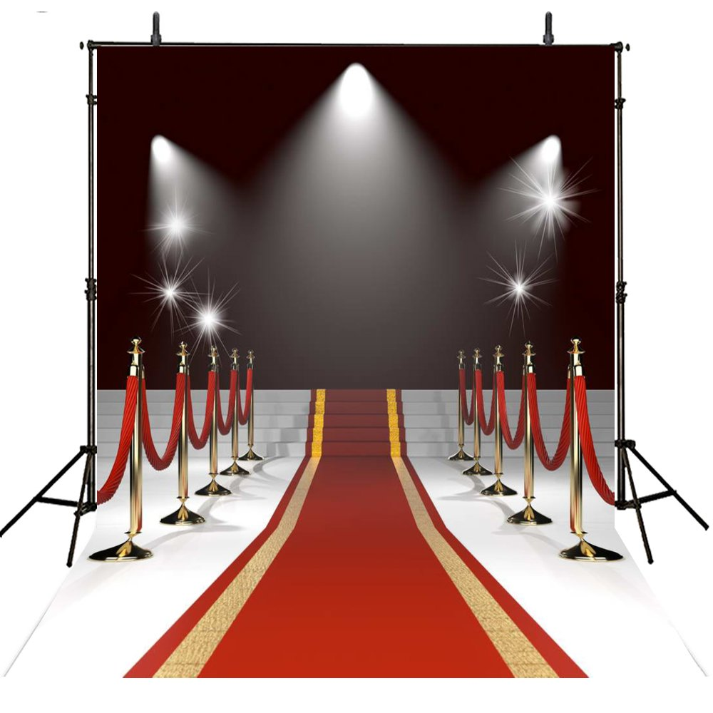 8x8FT Red Carpet Backdrop Photography Props Wedding Photo Backdrop Hollywood Photography Backgrounds Lighting Computer Printed Photo Backgrounds M1770 by Lyneshop (Image #1)
