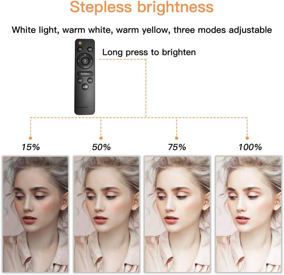 Suitable for Makeup Video Video Blog Self-Timer Ring USB Charging Photo Fill Light,1Pack 40W Portable Remote Fill Light Dimmable 3200K-5600K Rabther 12.6 LED Ring Light