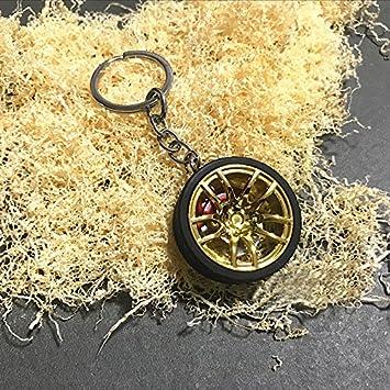 ONEVER Llavero de la Rueda de Coche Rueda de Coche Nuestra Turbo Llavero Llavero de Metal con Discos de Freno del Coche-Car Styling Accesorios -Golden
