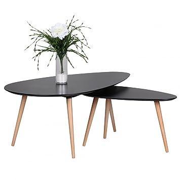 Design Couchtisch 2er Set SKANDI Skandinavischer Retro Look ...