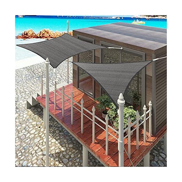 61X63fz90FS EUGAD Sonnensegel Quadrat 2x2m Sonnenschutz 200g/m² Garten Balkon Terrasse HDPE Wetterschutz atmungsaktiv Grau 0177ZYF