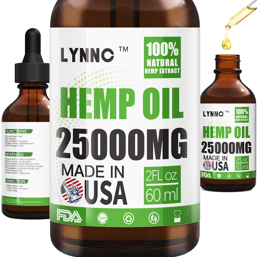 LYNNC Hemp Oil for Anxiety Relief - 25000 MG - Premium Seed Grade - Natural Hemp Oil for Better Sleep, Mood & Stress - Improve Health - Vitamins & Fatty Acids by LYNNC