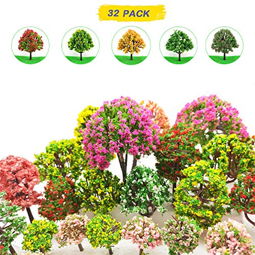 MOMOONNON 32 Pieces Model Trees 3.5cm - 10cm Mixed Model Tree Train Scenery Architecture Trees Fake Trees for DIY Crafts, Building Model, Scenery Landscape Natural Green]()
