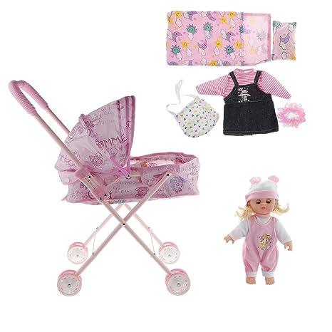 F Fityle Juegos de Cochecito con Bebé Neborn + Ropa de Vestir con Almohadillas Juguete Pretende