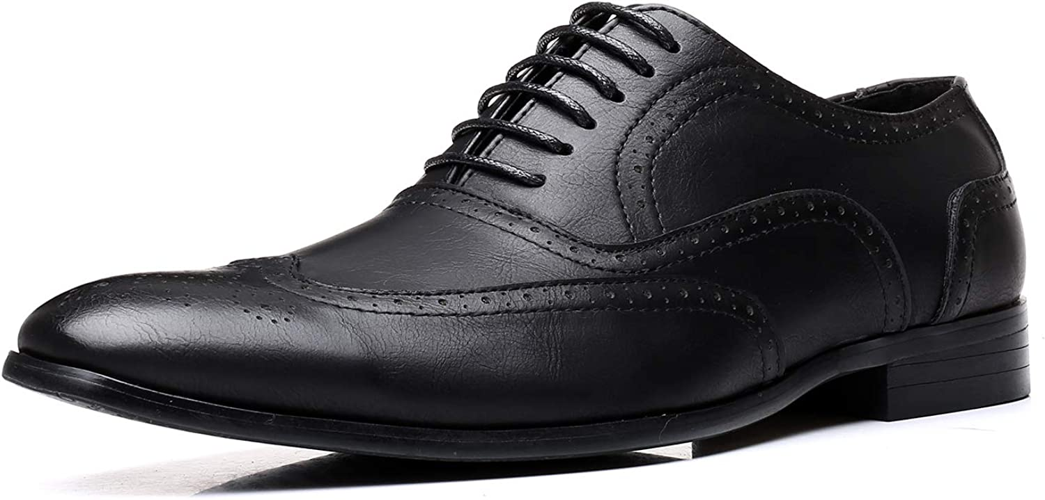 Jumuland Mens Business Leather Dress Shoes Classic Modern Pointed Toe Lace up Oxford for Men