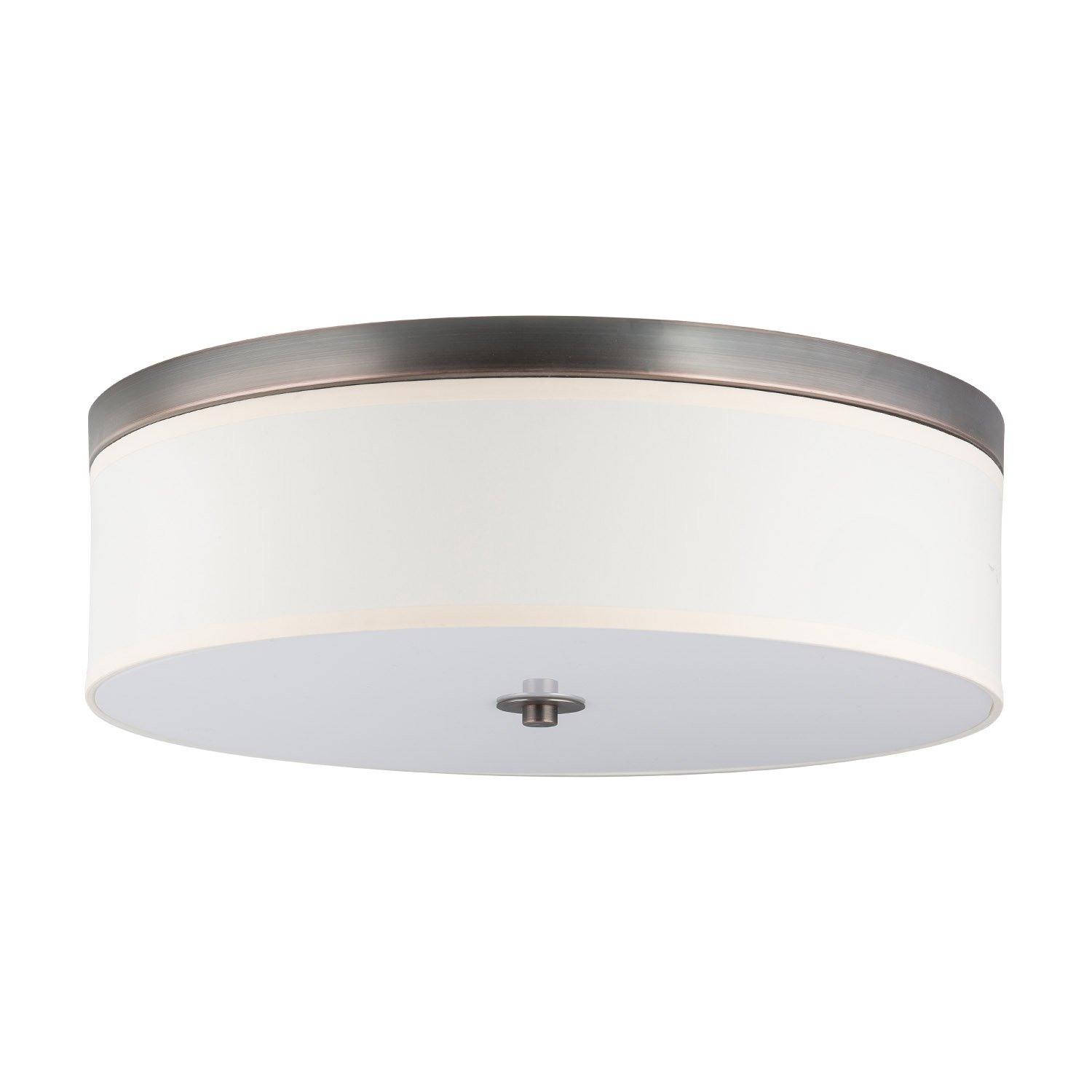 Occhio 20.5'' Flush Mount Ceiling Light - Bronze w/ a Sandstone Fabric Shade - Linea di Liara LL-C253-BRO by Linea di Liara
