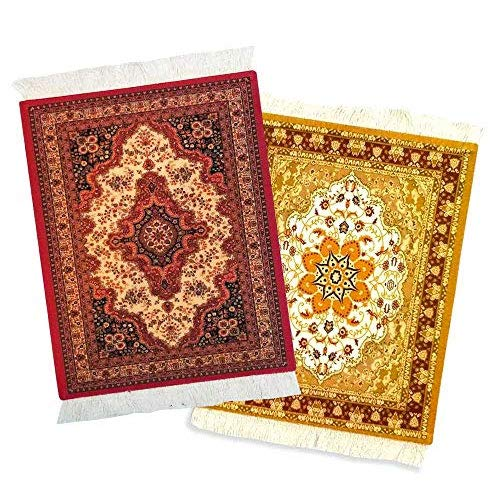 Rug Mouse Pad – 2 Pack – Persian Rug Mouse Pad – Oriental Rug Computer Mousepad – Persian Desk Rug Coaster Mouse Pad