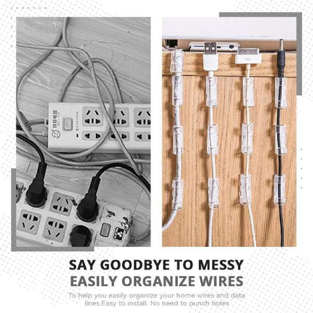 60PCS Home Essentials Finisher Wire Clamp Strong Self-Adhesive Cable Clips Organizer Cord Holder,Durable Cable Wire Management Tidy for Car,Office and Home Black