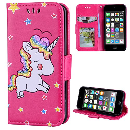 iPod Touch 6 Case, iPod Touch 5 Case, Alkax Wallet Case with Stand Cute Pattern Card ID PU Leather Flip Cover & Soft TPU Bumper Kickstand Slim Case for Apple iPod Touch 6th Generation (Horse Hot Pink)