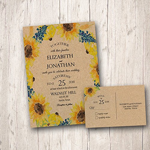 Rustic Sunflower Wedding Invitations, Fall Wedding Invitations, Sunflower Wedding Invitations, Sunflower wedding invite,Wedding invitation and RSVP cards,country wedding(pack of 10)