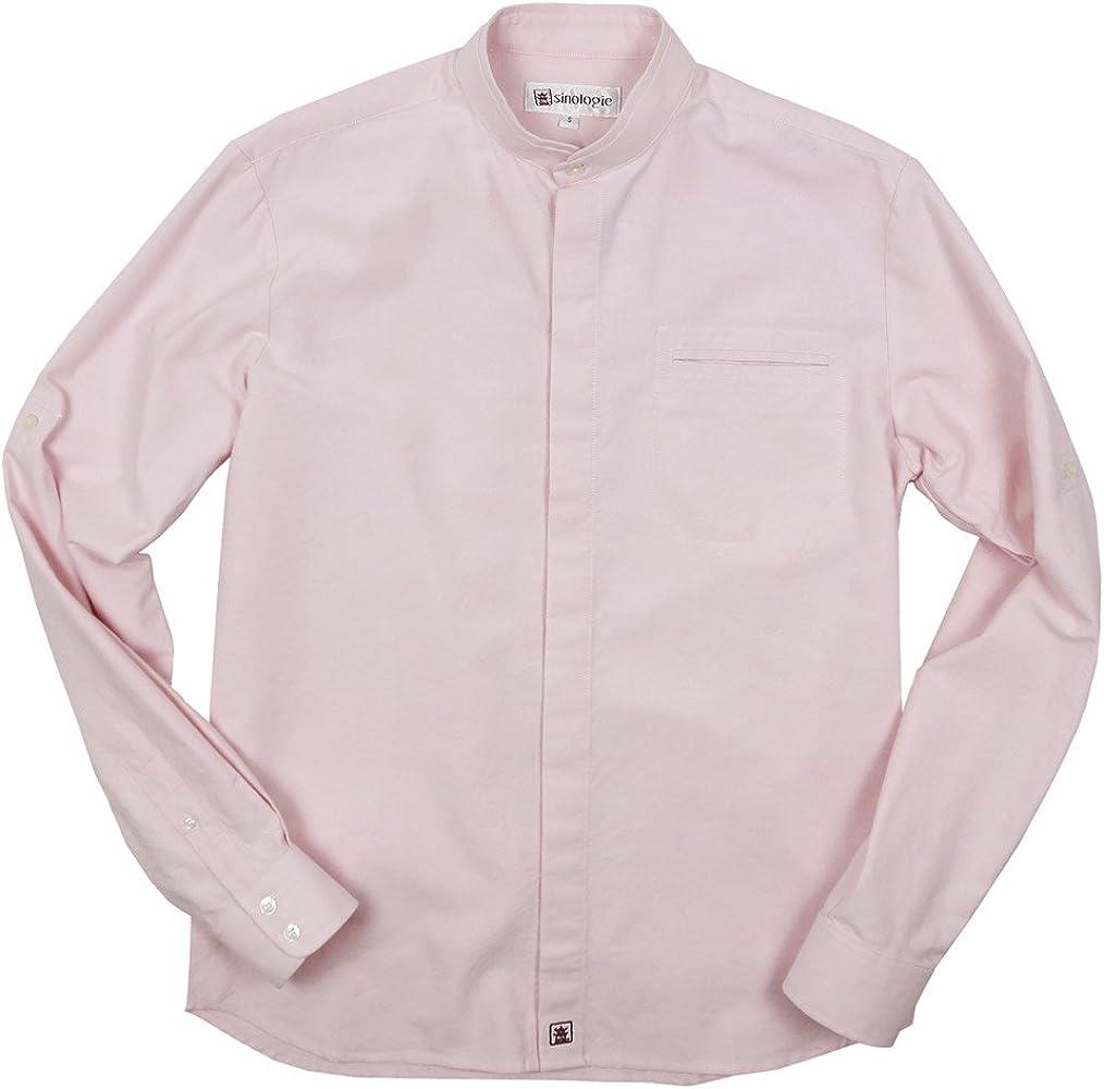 Sinologie - Camisa formal - cuello mao - para hombre rosa X-Large: Amazon.es: Ropa y accesorios