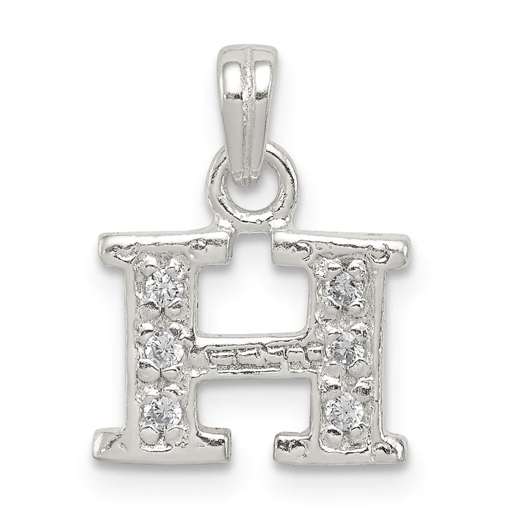 Mia Diamonds 925 Sterling Silver Solid Cubic Zirconia initial H Pendant