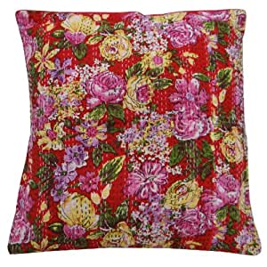 Ethnic Floral Pattern Red Cushion Cover 45cm Kantha Pillow Case Cotton Throw Indian Gift Art 17 Inches