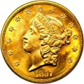 1857 S $20 Liberty Gold Shipwreck Spiked Shield Twenty Dollar MS65 PCGS\CAC