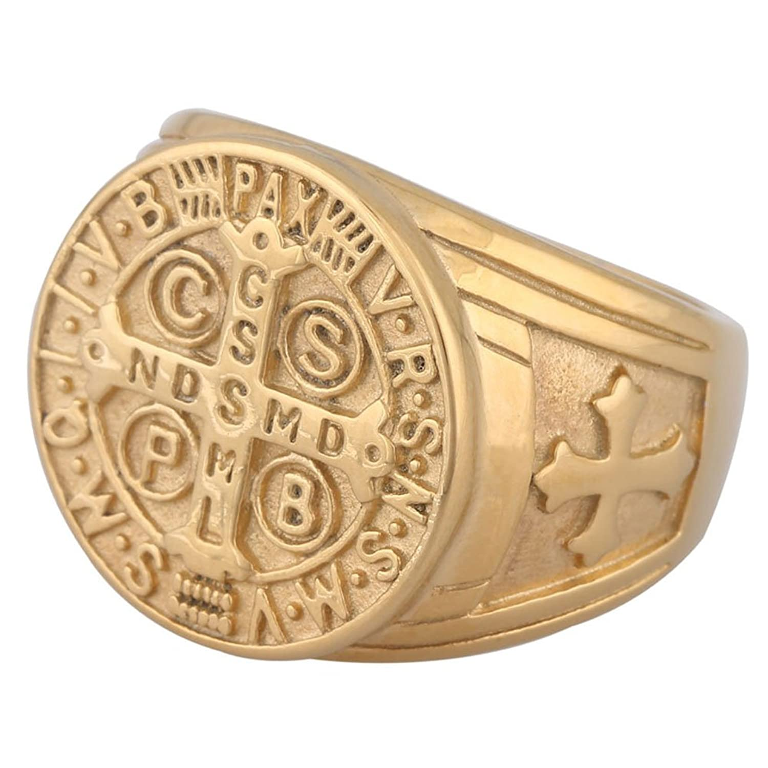 cz mens religious amazon our horseshoe gold ring rings dp of jewelry tone com lady guadalupe