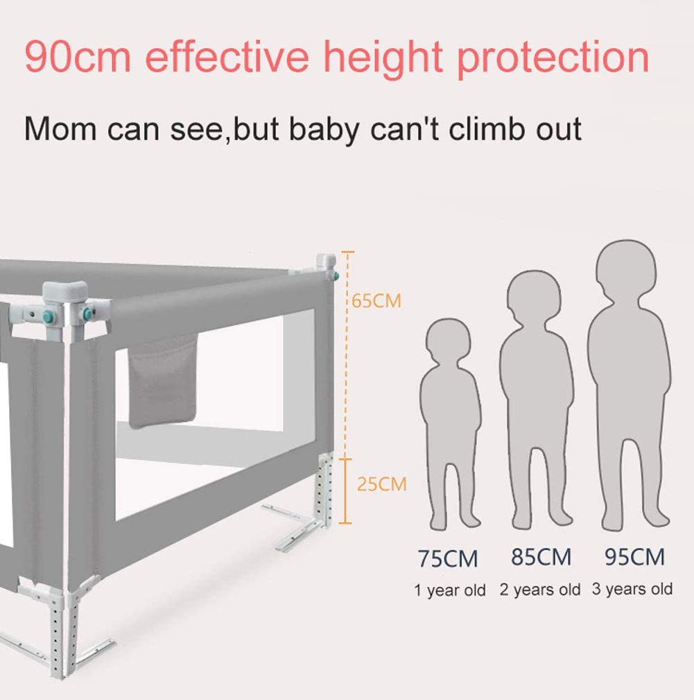 Q/&Z Baby Safety Bed Rail,Vertical Lifting Bed Guard Foldable Mesh Fence For Toddlers Kids Children 8 Gears Adjustable To Fit Your Mattress With Storage Bag Home Use