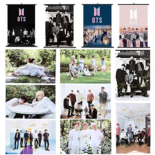 CCUT Kpop BTS Bangtan Boys 4 Set Wall Scroll Hanging Paintings & 8 Sheets BTS Poster for A.R.M.Y (4 Scrolling Poster & 1 Set Paper Poster)