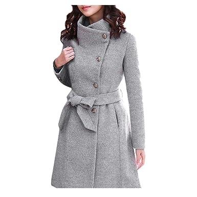 BHYDRY Abrigo de Lana de Solapa de Invierno para Mujer Trench Jacket Abrigo de Manga Larga Outwear(,) : Amazon.es: Ropa y accesorios