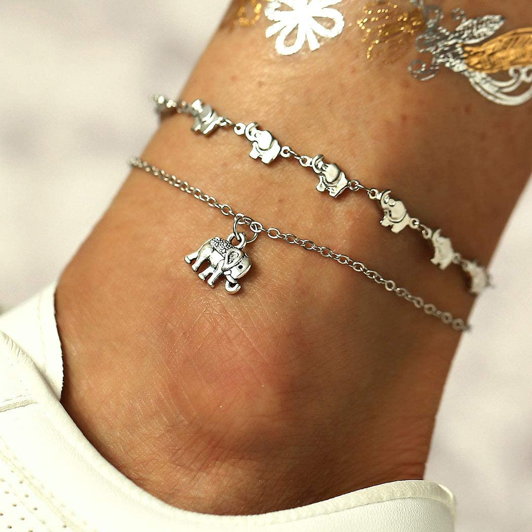 Sethain Boho Couches Bracelet Argent Bracelets de cheville Pendentif Bijoux de pied /Él/éphant Cha/înes de pieds pour les femmes et les filles