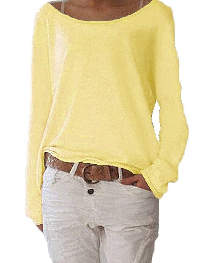 ZIOOER Mujeres Suelto Jersey Suéter Pullover Cárdigan Camiseta Cuello Redondo con Manga Larga Sudadera Cardigan Casual Jerséis T-Shirt tee