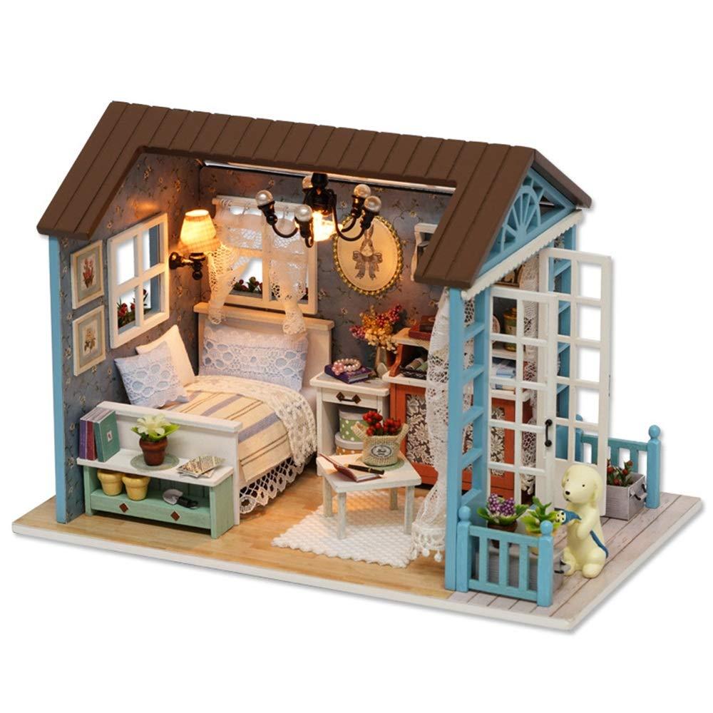 Liuxiaomiao Kinderspielzeug für Kinder, um Geburtstagsgeschenk Handgemachte Miniatur Puppenhaus DIY Kit mit Küche Wohnzimmermöbel mit Tochter Geschenk Kindergeburtstag, Kindertagesgeschenke. Sen Blau Time