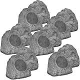 Theater Solutions 12R8G Outdoor Granite 8'' Rock 12 Speaker Set for Deck Pool Spa Yard Garden