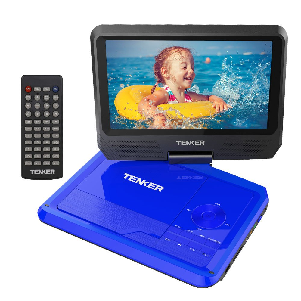 TENKER 9.5'' Portable DVD Player with Swivel Screen, Rechargeable Battery and SD Card Slot & USB Port, Blue