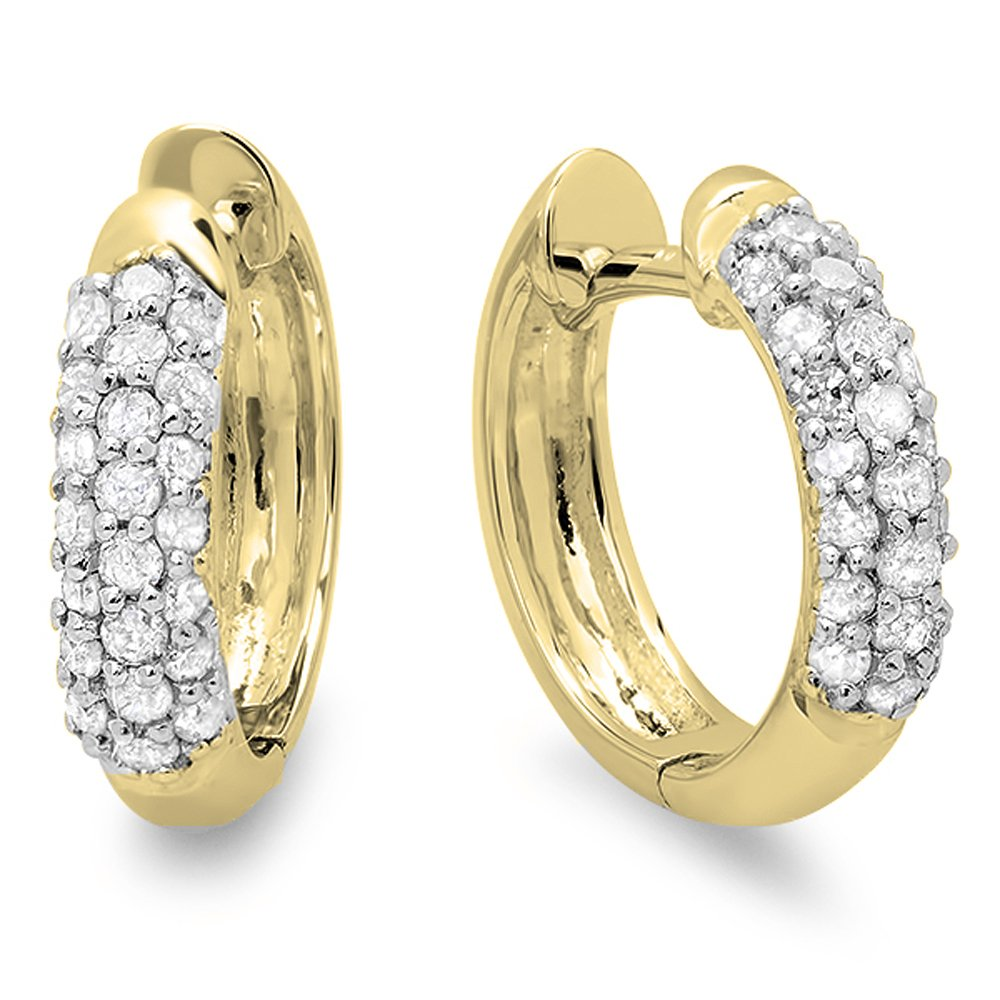 0.30 Carat (ctw) 14K Yellow Gold Round White Diamond Ladies Pave Set Huggies Hoop Earrings 1/3 CT