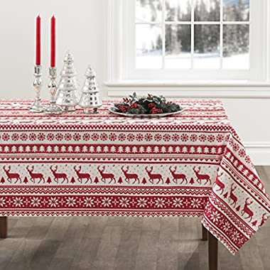 Creative Dining Group Nordic Christmas Herringbone Print Rectangle Tablecloth, 60 by 120-Inch