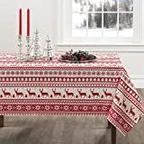 Creative Dining Group Nordic Christmas Herringbone Print Rectangle Tablecloth, 60 by 104-Inch