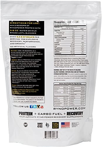 Ryno Power All-Natural, Gluten Free Protein – 100 Whey Protein Blend No Fillers – Non GMO Vanilla