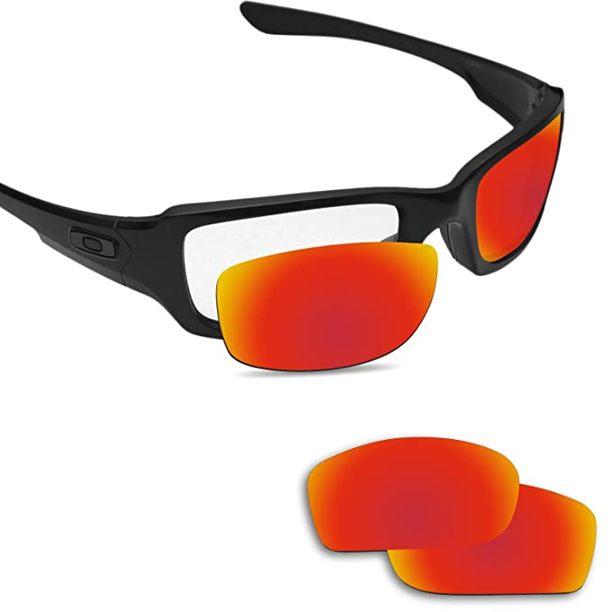 9166e7f93a7ec Image Unavailable. Image not available for. Color  Fiskr Replacement Lenses  for Oakley Fives Squared Polarized Red