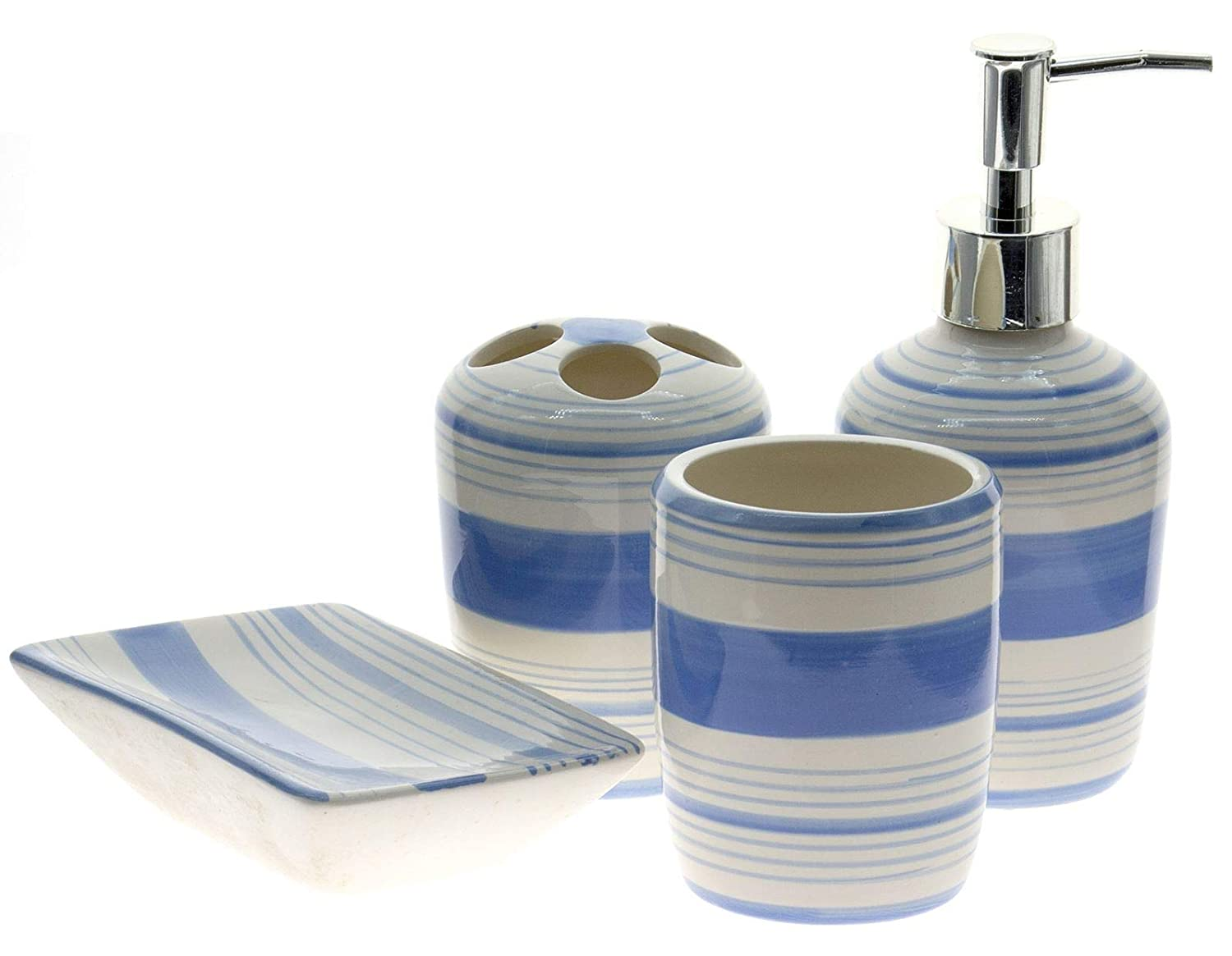 Ceramic Bathroom Accessories Set, 4 Pieces Consisting of Liquid Soap Dispenser, Saucer Soap Dish, Toothbrush Holder and Sink Cup, Black 90057