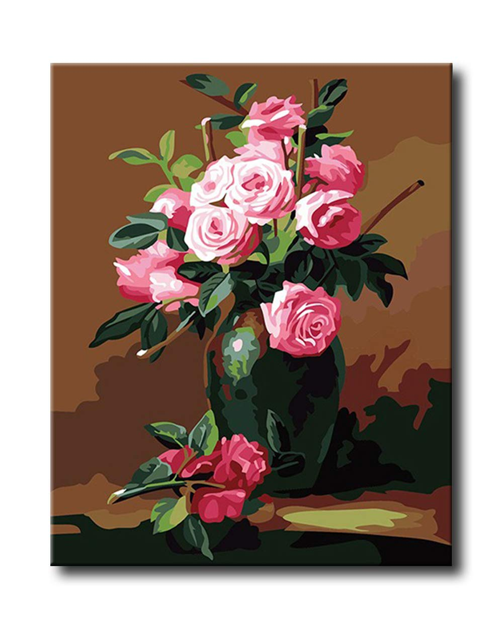 Shukqueen DIY Paint by Numbers for Adults DIY Oil Painting Kit for Kids Beginner - Pink Rose 16x20 Inch (Without Frame)