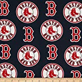 Fabric Traditions MLB Cotton Broadcloth Boston Sox Red/Navy Fabric by The Yard
