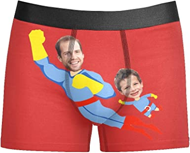 XS-5XL Custom Funny Face Mens Boxer Shorts Personalized Funny Novelty Briefs Underpants with Photo