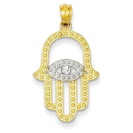 Amazon 14k yellow gold hamsa hand of god pendant with rhodium 14k yellow gold hamsa hand of god pendant with rhodium eye in center 24x17mm aloadofball Choice Image