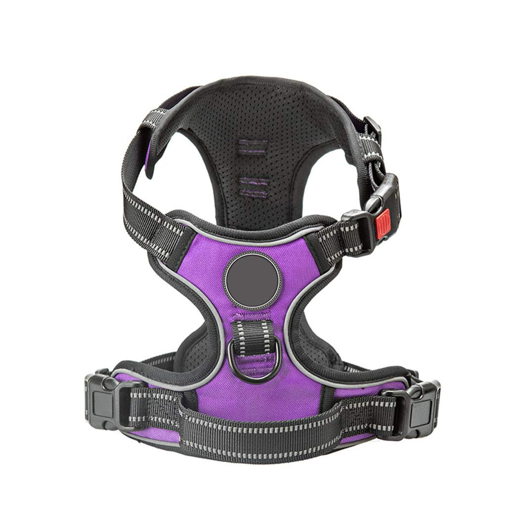 Purple Small Purple Small Big Dog Harness Adjustable Pet Reflective Oxford Soft Vest Walking Training Easy Control for Medium Large Dogs,Purple,S